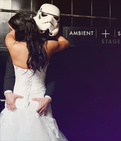 I would let him take a picture like this. Maybe with a boba fett mask. And only of the back of my dress was pretty and detailed.