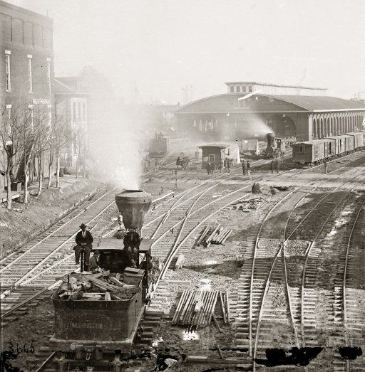 Atlanta Depot 1864 - amazing detail in the original photo - a year before the end of the Civil War.