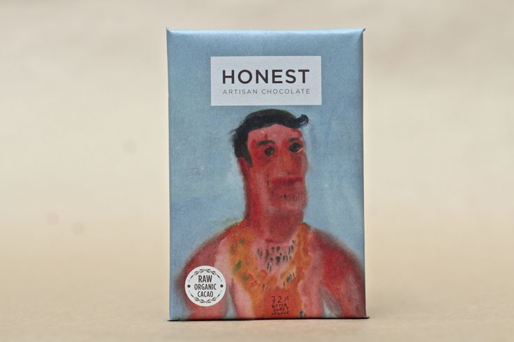 Orange 60g Honest Chocolate Slab: Raw, vegan, ethically sourced, refined sugar free, hand illustrated packaging. #capetown