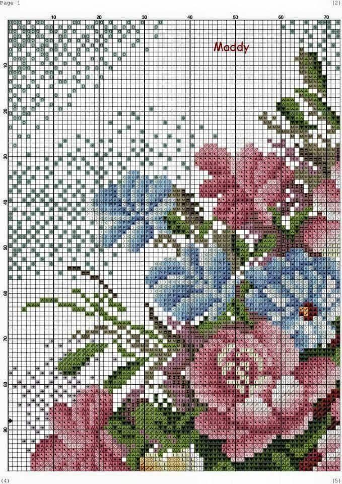 ENCANTOS EM PONTO CRUZ: Lindo Vaso de Flores em Ponto Cruz