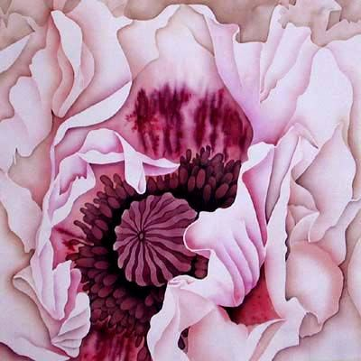 """Batik """"Poppy Perry's White"""" - mounted 50cm square..The dark markings on the petals of this oriental poppy were created using damp torn paper placed on the silk as a resist.  ©2001 Leonard Thompson"""