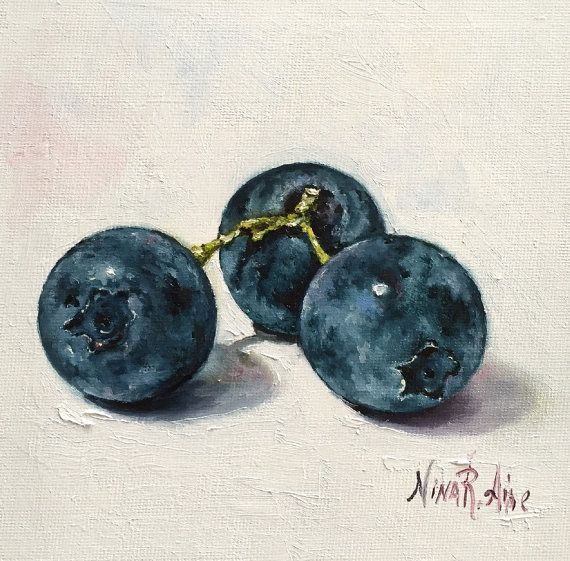 Blueberries  Original Oil Painting Nina R.Aide 6x6 canvas Fruit Fine Art Studio Gallery Kitchen Art Small Painting Daily