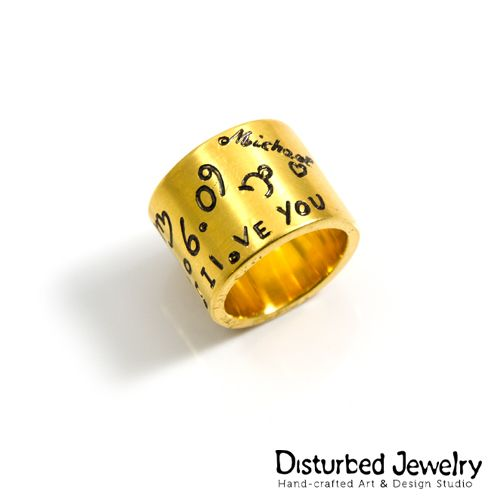 If you can't tell her how you feel, surprise her! Custom #Engraved Text #Ring / Crafted out of sterling silver 925 / Yellow #gold plated #handcrafted #sterlingsilver #finejewelry #engravedring #widebandring #customdesign #customjewelry #onlineshopping #onlinejewelrystore