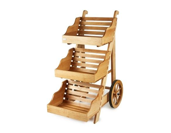Retail Display Stands | Wood & Wicker Display Stands.  Wooden Display Stand + Cart - http://www.heartbeatuk.com/large-3-tier-wooden-display-cart/product/583