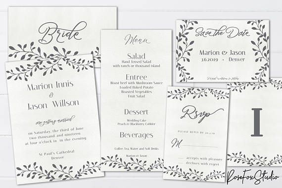 Floral Grey Wedding Invitation Set  Instant Download.