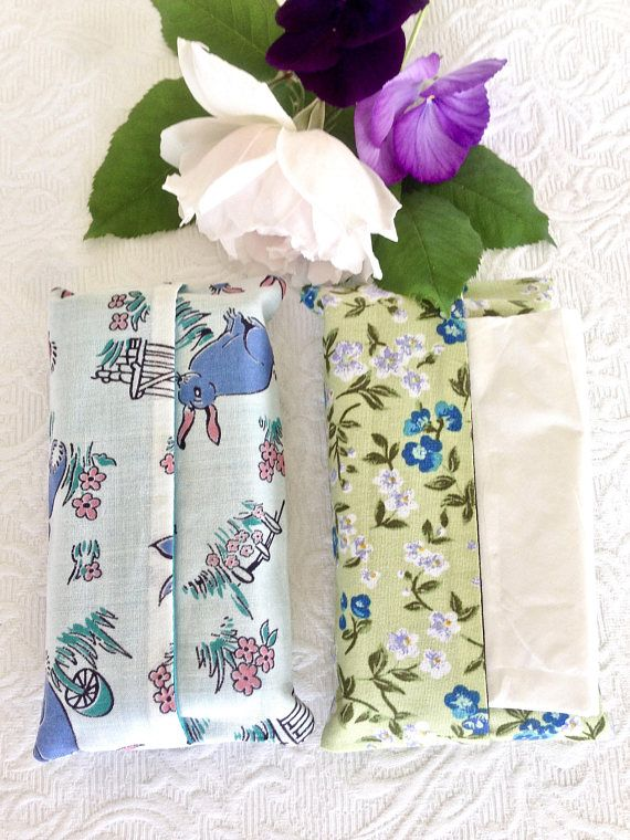 Two Small Travel Tissue Cases Tissue Holders Rabbits and