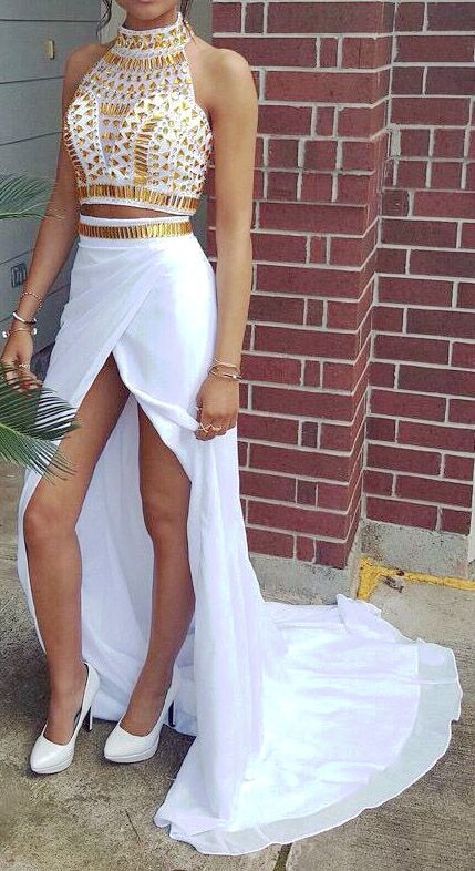 A Line Prom Gown,Two Piece Prom Dresses,White Evening Gowns,2 Pieces Party Dresses,Chiffon Evening Gowns,Gold Beaded Formal Dress For Teens,Split at lower part of dress