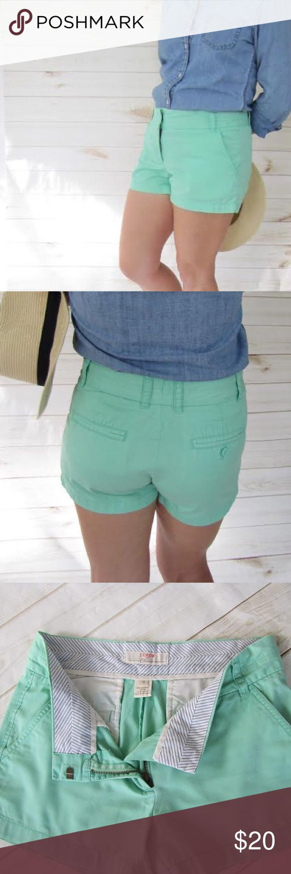"J. Crew broken-in mint green chino shorts Flat front J. Crew shorts have flat side pockets, zip front, and belt loops. Fabric is 100% cotton, in the classic broken-in wash. Excellent used condition. No marks, stains, or pilling. Measurements are approximate, taken taken when garment is lying flat: Waist = 15.5"" Inseam = 3""  Rise = 8"" J. Crew Shorts"