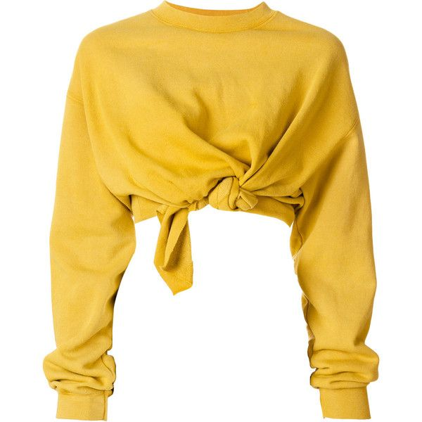 Ottolinger front knot jumper ($478) ❤ liked on Polyvore featuring tops, sweaters, shirts, yellow sweater, yellow shirt, jumper shirt, shirt sweater and knot top