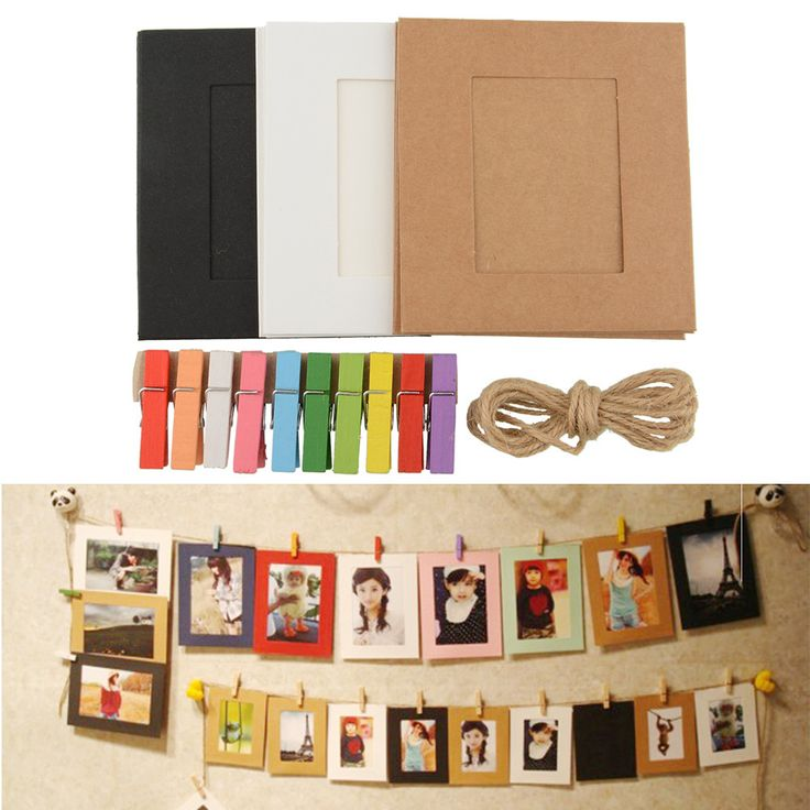 10X Paper Photo Frame DIY Picture Hanging Album Frame Gallery With Hemp Rope Line Clips Decor