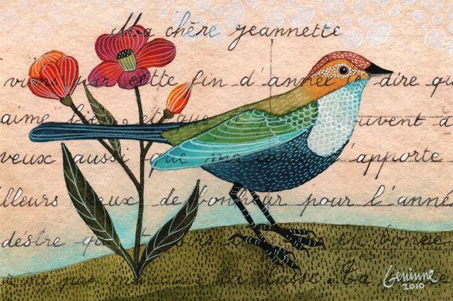 Beautiful little bird illustration by Geninne