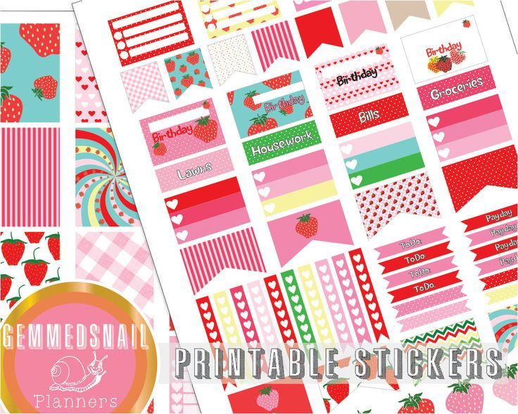 Strawberry planner stickers, printable planner stickers in strawberry shades, perfect for Erin Condren vertical planners