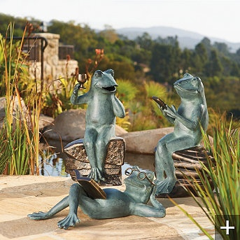 Set Of Three Socializing Frog Statues   Frontgate   Eclectic   Garden  Sculptures   FRONTGATE