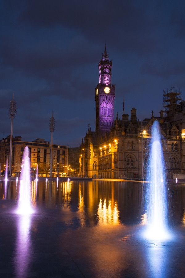 Bradford City Hall | Bradford Centenary Square Showing The Victorian Town Hall | Yorkshire | England | Photo By Darrell Evans