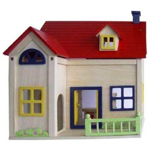 Charl's Design Toys Houten poppenhuis met rood dak