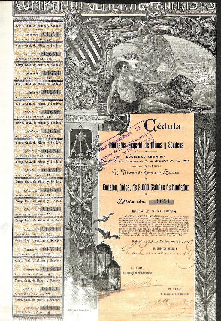 COMPANIA GENERAL DE MINAS Y SONDEOS - #scripomarket #scriposigns #scripofilia #scripophily #finanza #finance #collezionismo #collectibles #arte #art #scripoart #scripoarte #borsa #stock #azioni #bonds #obbligazioni