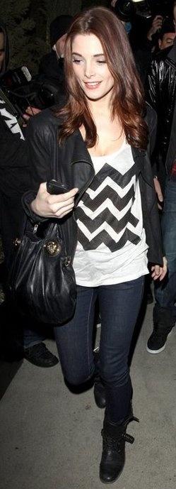 Ashley Green - love the Chevron shirt, dark denim and leather.