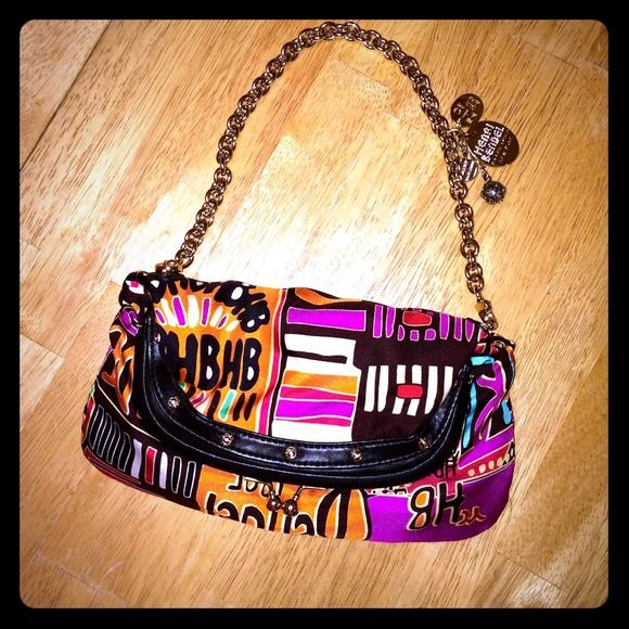 Henri Bendel Satin Clutch Handbag Bright and colorful henri bendel satin clutch with gold chain for sale! Never used - in perfect condition! henri bendel Bags Clutches & Wristlets
