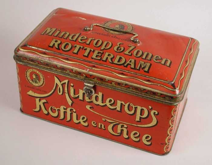 Minderop's Koffie en Thee tea tin, chest shape with rounded lid, Minderop & Zonen, c. early-mid 20th century Rotterdam, Holland/The Netherlands