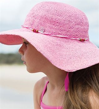 The ultimate girls summer hat. This resort style hat is made from paper weave. It's super wide soft brim provides great coverage.