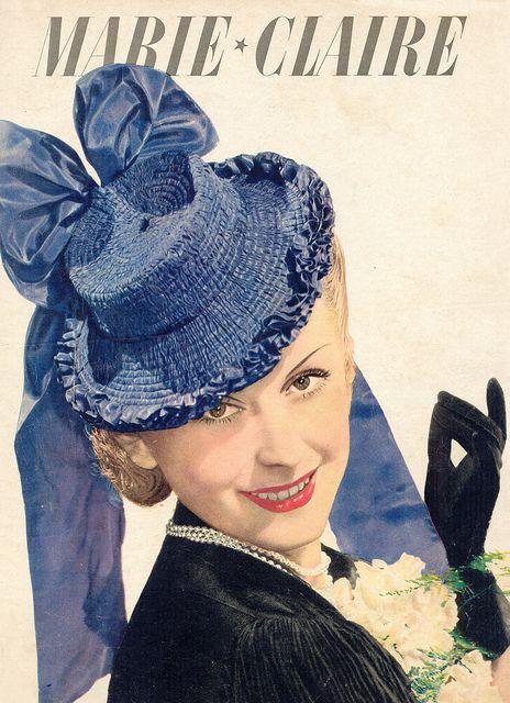 Major vintage tilt hat swoon! ~ Cover of Marie Claire, ca. 1930s.