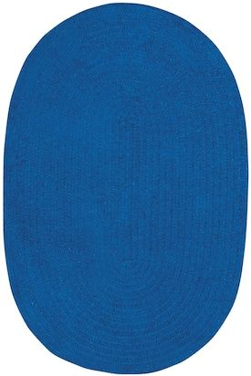 Finest Areas Royal Blue Model Braid 325 Rug Solid Striped Oval 9 X 12 Rugs Capel
