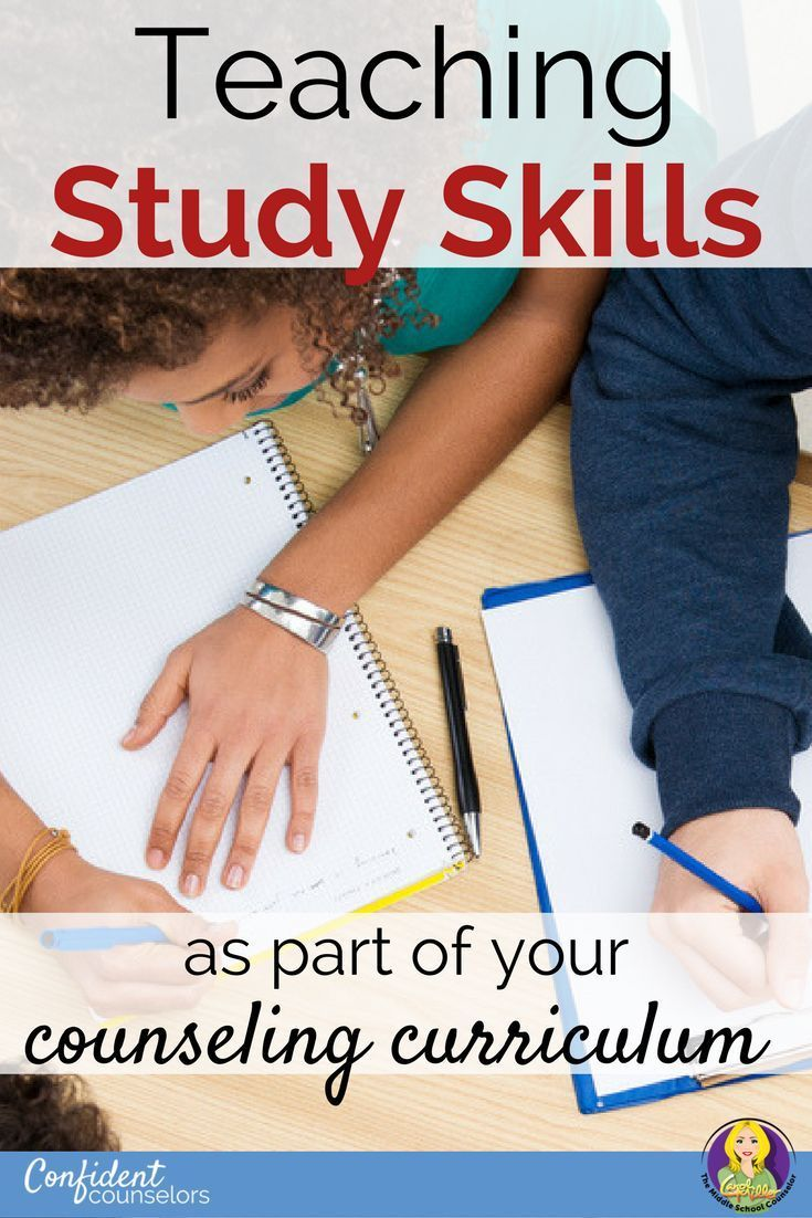 Teaching Study Skills as Part of Your Counseling Curriculum Middle school students benefit from direct teaching of study skills. Collect data, set goals, provide practice opportunities to help them develop study skills. http://confidentcounselors.com/2017/10/23/study-skills/