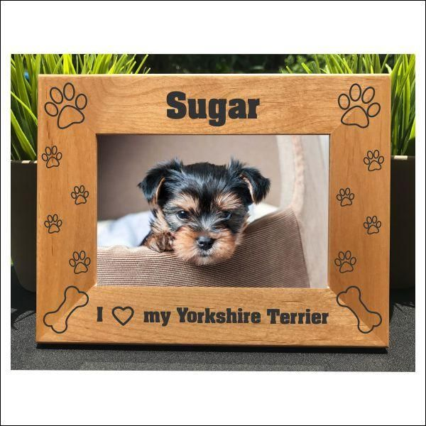 I Love My Yorkshire Terrier // Personalized Engraved Photo Frame // Picture Frame // Yorkie // Gift