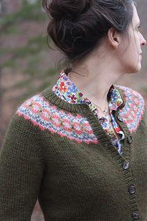 """Ellen Cardigan,"" by Amy Christoffers, a free pattern from Berroco, knit in 7 shades of Berroco Ultra Alpaca."