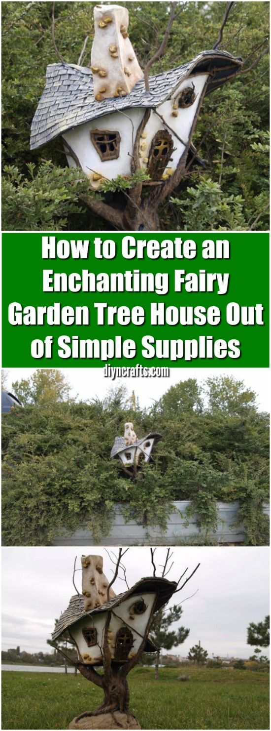 How to Create an Enchanting Fairy Garden Tree House Out of Simple Supplies - Easy and creative project featured by diyncrafts.com team! via @vanessacrafting
