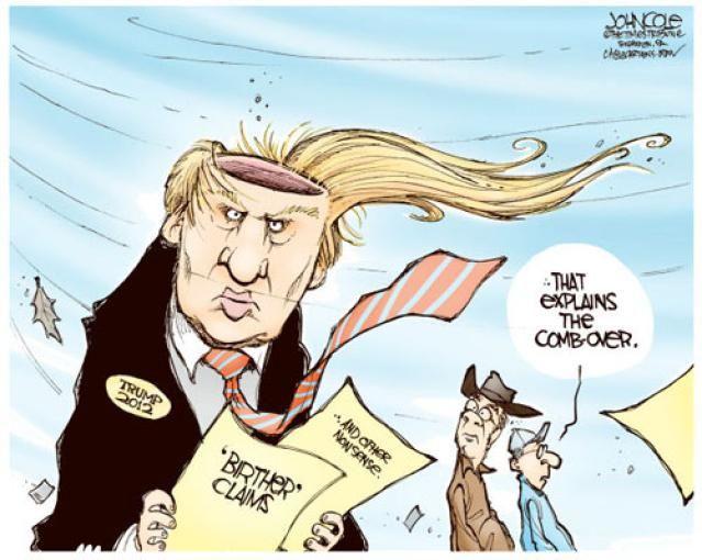 Donald Trump Cartoons: Trump Comb-Over