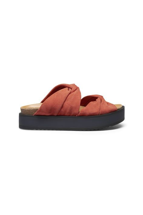 Saika Suede Sandals, Red Clay