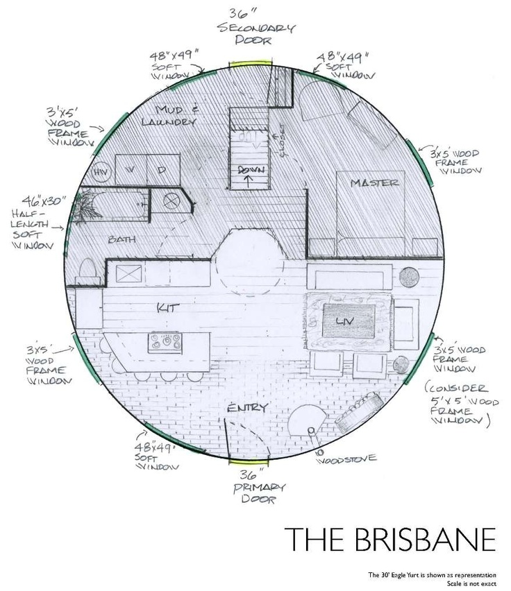 This is similar to the one I've designed.  (Yurt Floor Plans - The Brisbane)