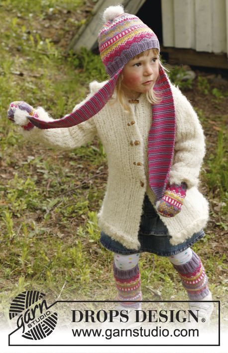 "Winter belle - Knitted DROPS jacket in ""Alpaca Bouclé"" with crochet edges in ""Puddel"". - Free pattern by DROPS Design"