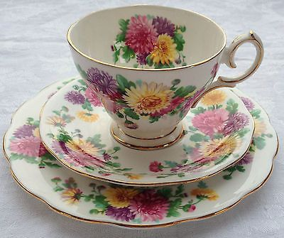 "QUEEN ANNE ""AUTUMN GLORY"" TRIO - TEA CUP, SAUCER AND PLATE"