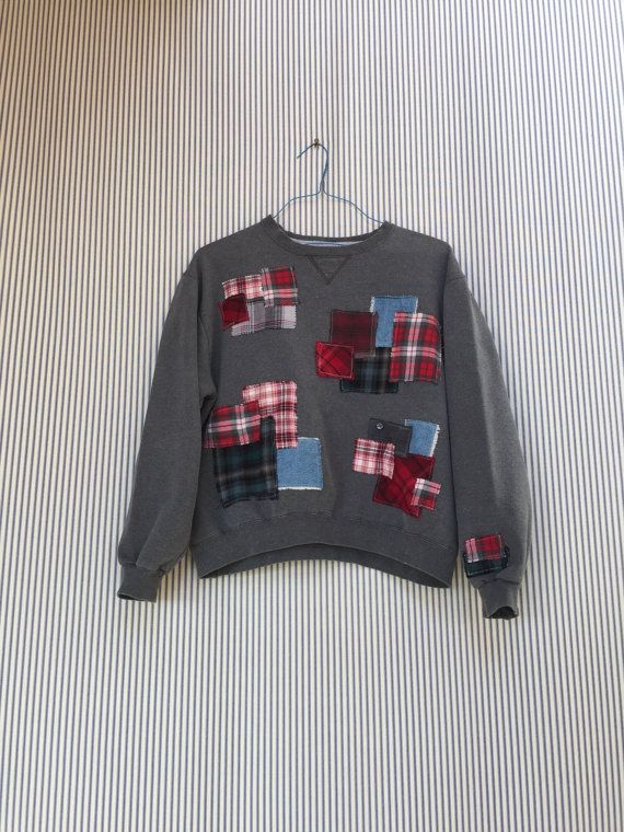 Upcycled Red Patchwork Sweatshirt SPECIAL by SimplyCathrineAnn