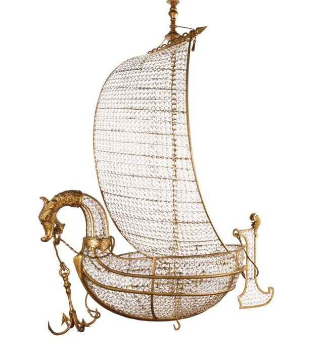 Viking ship chandelier handmade in wrought #iron and crystal by effebiweb.com