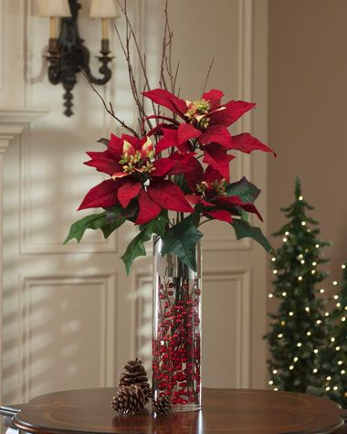 Image detail for -Tall Poinsettia, Birch & Berries | Red Silk Poinsettia Blooms To Add ...