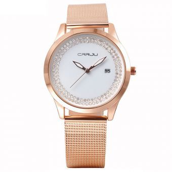 Cristal de lujo de las mujeres del reloj del acero inoxidable oro rosa