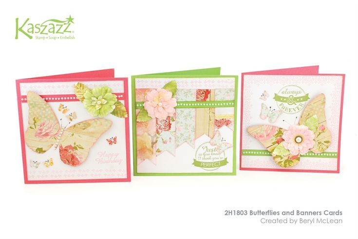 2H1803 Butterflies and Banners Cards