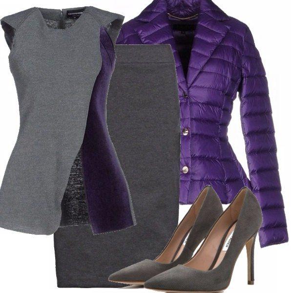 Look pefetto per l'ufficio o per una cena importante composto da un top dal taglio particolare, una longuette, un piumino viola e delle scarpe grigie alte.