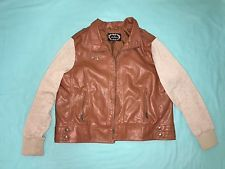 AMBIANCE Woman Brown Leather Bomber Jacket Size 2X  Faux Leather Zip Up