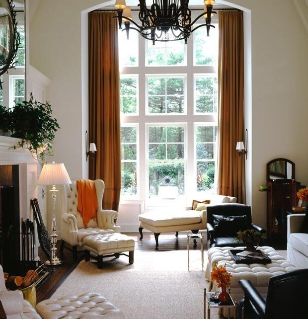 windows + drapes: Large Window, Living Rooms, Interiors Design, Rooms Ideas, High Ceilings, House, Bold Colors, Larry Laslo, Decor Blog