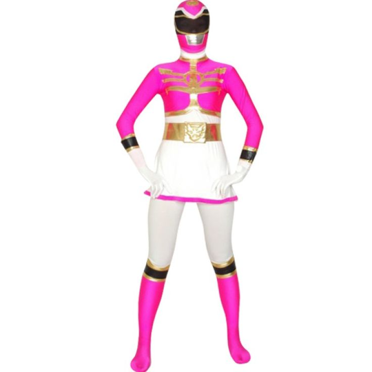 This power ranger costume with lycra material adopted, rose and white colored .