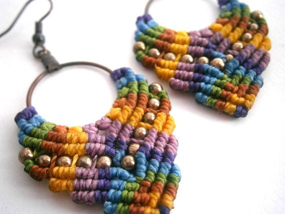 Macrame earrings/Hoop earrings/Macrame by Ancientmacrame on Etsy, €12.65