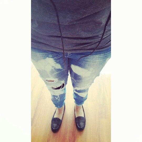Loafers, distressed denim, grey tee