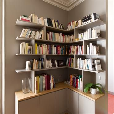 25 best bibliotheque angle ideas on pinterest bricolage d 39 tag re d 3 - Etagere invisible ikea ...