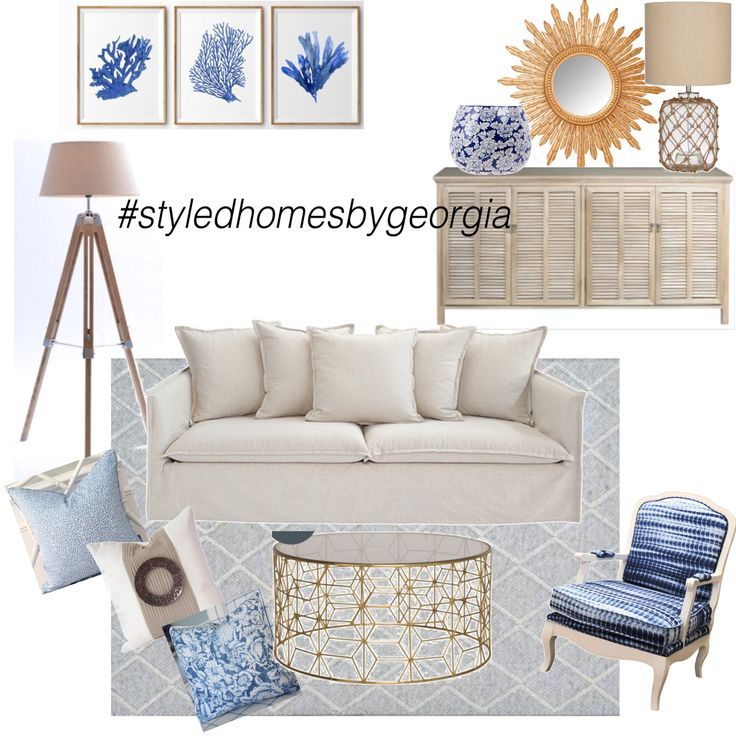 If you would like an e-moodboard just like this tailored to your space and style, just comment below or contact us via email: georgiasalley@yahoo.com; send us a message via FB for more information and pricing details.  Loving this design || this is our relaxed Hamptons vibe  #styledhomesbygeorgia #moodboard #interiors #design #propertystylist #melbournestylist #interiordecorator #uistylistscout #hamptons #livingroom #blueandwhite #classicstyle #classic #style