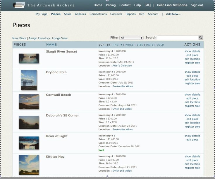 Image result for artwork inventory template