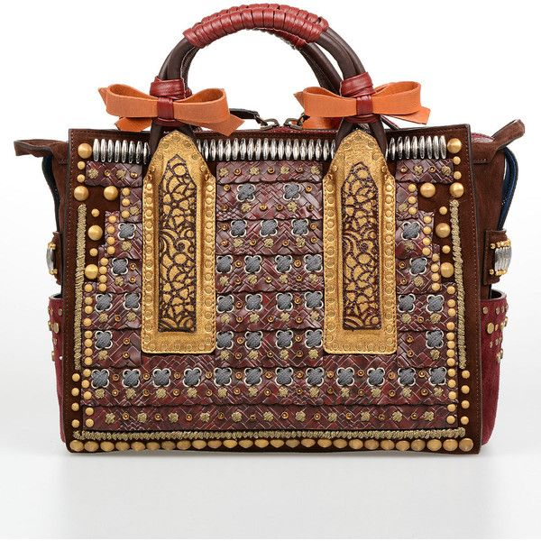 Dsquared2 Embroidery and Studs Leather Medium Bag ($3,025) ❤ liked on Polyvore featuring bags, handbags, shoulder bags, multicolor, hand bags, handbags shoulder bags, leather purses, leather hand bags and brown purse